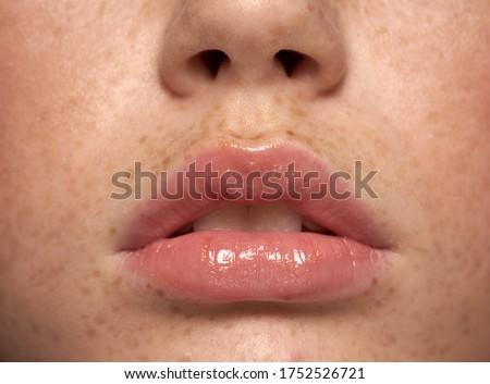 Belo completo lábios brilhante moda Foto stock © serdechny