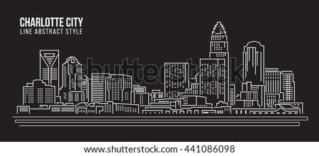 silhouette of charlotte skyline   charlotte panorama city downt stock photo © winner