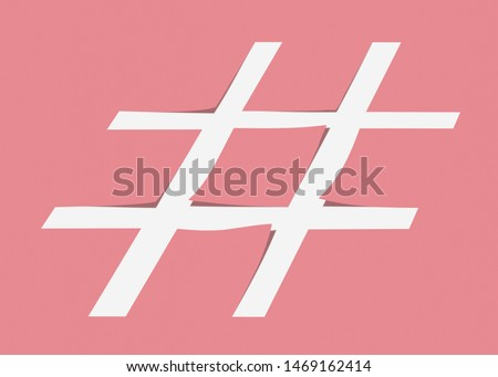 White hashtag symbol cut from pastel pink paper as a background. Stock photo © artjazz