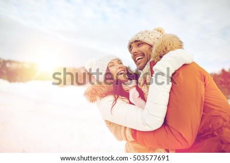 gelukkig · paar · spelen · outdoor · winter · bergen - stockfoto © lopolo