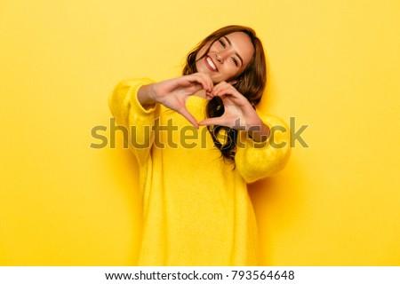 Valentin nap divat modell lány izolált citromsárga Stock fotó © serdechny