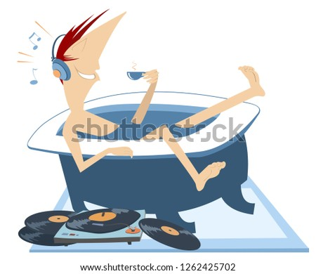 Man with a cup of coffee takes a bath and listens music in headphones illustration Stock photo © tiKkraf69
