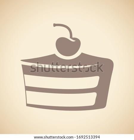 Bruin cake icon geïsoleerd beige vector Stockfoto © cidepix