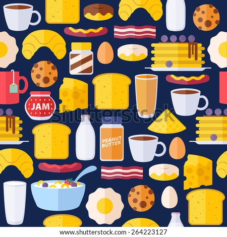 Stockfoto: Coffee And Breakfast Icons On Colorful Backgrounds Vector Illust