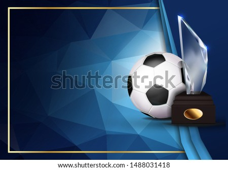 Soccer Game Certificate Diploma With Glass Trophy Vector. Sport Vintage Appreciation. Modern Gift. P Stock photo © pikepicture