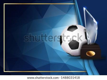 Stockfoto: Voetbal · spel · certificaat · diploma · glas · trofee