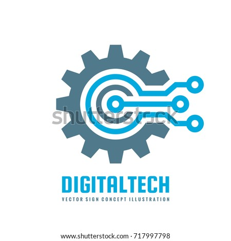 Digital mechanical technology logo template concept illustration. Gear electronic sign. Cog wheel te Stock photo © kyryloff