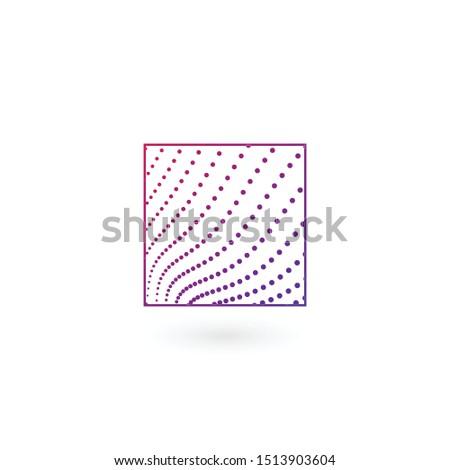 抽象的な 波状の 点在 行 ロゴ 広場 ストックフォト © kyryloff