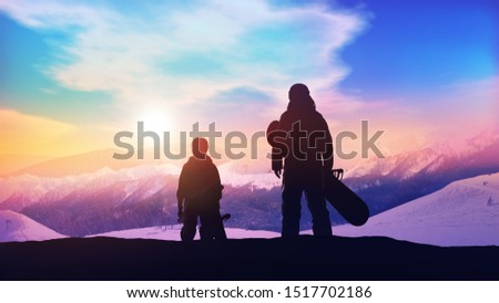 Father and son on the slope of the snowboard track. Stock photo © ConceptCafe
