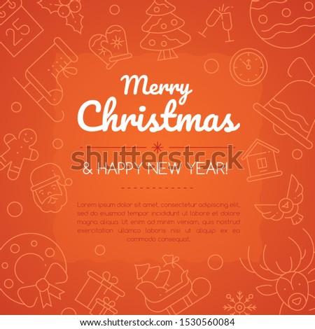 Vrolijk christmas social media banner lineair iconen Stockfoto © Decorwithme