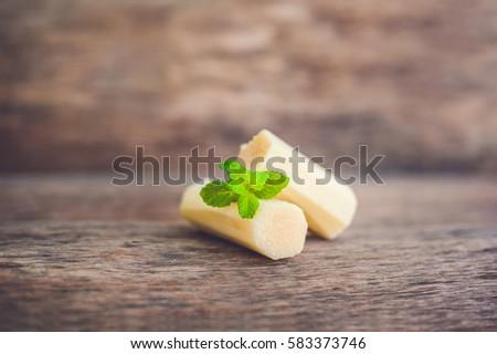 Stukken riet suiker oude houten voedsel Stockfoto © galitskaya