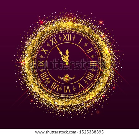 Clock face golden dial watch show midnight Christmas New Years Eve Stock photo © orensila
