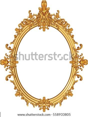 Baroque luxury golden frame Vector. Elegant mirror decor. Victorian ornaments rich framed Stock photo © frimufilms