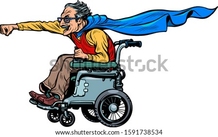man retired superhero disabled in a wheelchair. Health and longevity of older people Stock photo © studiostoks