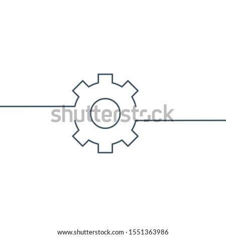 One Line Gear, linear cog wheel icon with editable stroke. Stock Vector illustration isolated on whi Stock photo © kyryloff