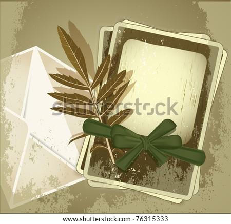 ベクトル グランジ 古い写真 フレーム 緑 リボン ストックフォト © Alkestida