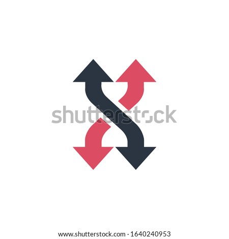 Shuffle curved arrows logo or icon. can be used for mobile apps and web design. Four directional arr Stock photo © kyryloff
