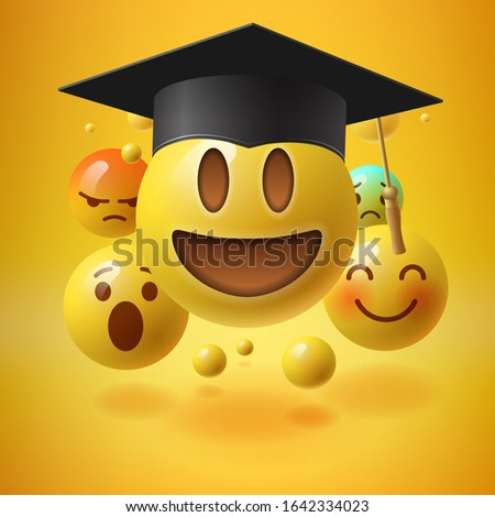 Emoticons in graduation hat. Educational resources, online learning courses, distance education, uni Stock photo © ikopylov