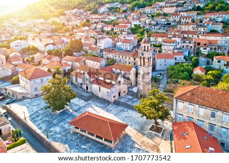 Blato on Korcula island historic stone square architecture sun h Stock photo © xbrchx