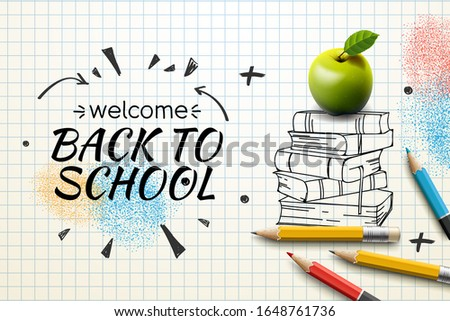 Welcome Back to school web banner, apple and doodle on checkered paper background, vector illustrati Stock photo © ikopylov