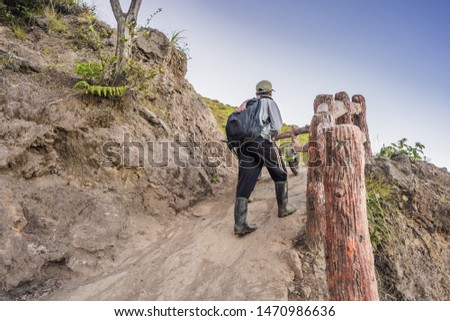 On a mountain road trecking to the Ijen volcano or Kawah Ijen on the Indonesian language. Famous vol Stock photo © galitskaya