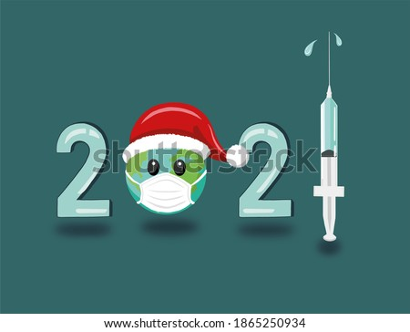 Two syringes with vaccine and one with red drop on a plaster cylinder. Stock photo © artjazz