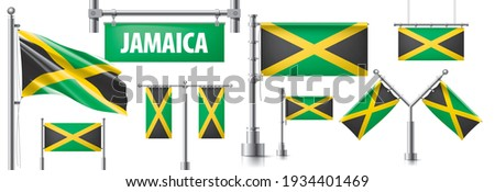 Vector set of the national flag of Jamaica in various creative designs Stock photo © butenkow