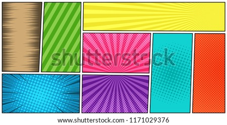 Set of color radial lines comics style background. Manga action, speed abstract. Vector illustration Stock photo © designer_things