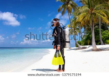 ビーチ 休暇 シュノーケリング 女性 マスク ストックフォト © Maridav