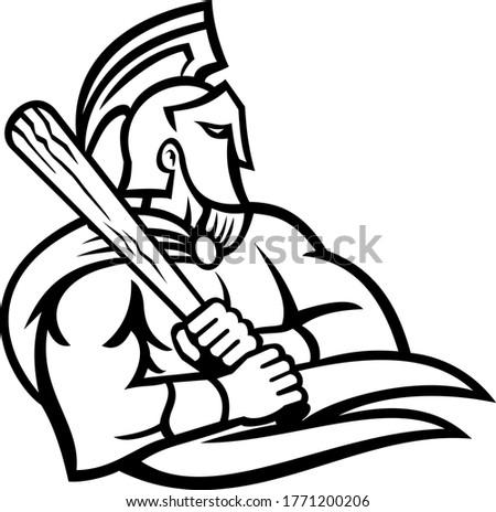Espartano troiano guerreiro taco de beisebol mascote preto e branco Foto stock © patrimonio