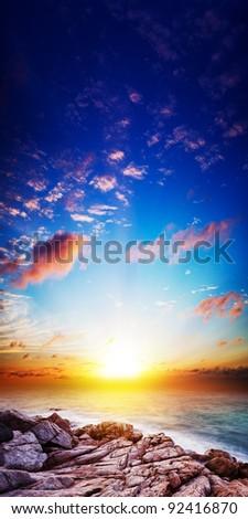 Stock photo: Amazing sunset scene. Long exposure shot, vertical panoramic com
