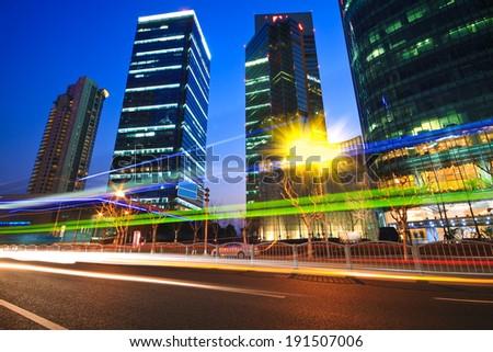 Moderne kantoorgebouw regenboog nacht Sjanghai kantoorgebouwen Stockfoto © Artphoto