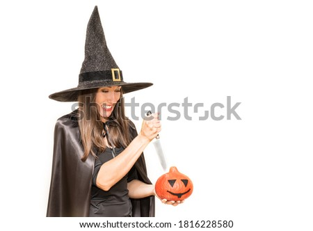 Happy halloween. Beautiful witch with a knife and a pumpkin. vector illustration Stock photo © carodi