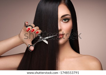 Fiatal barna hajú lány gyönyörű nő fenséges hosszú haj Stock fotó © Victoria_Andreas