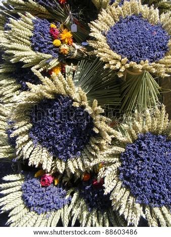 bunches of lavenders street market in salles sur verdon proven stock photo © phbcz
