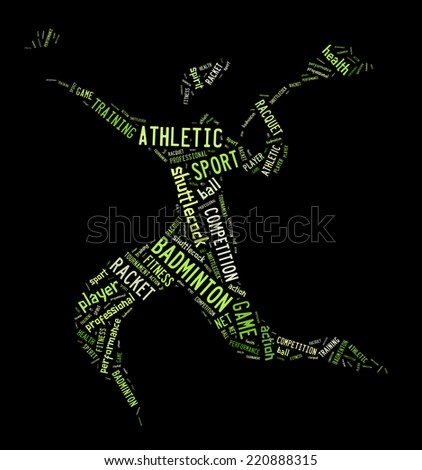 badminton player pictogram with green words on black background stock photo © seiksoon