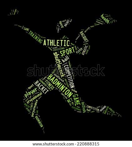 Badminton jogador pictograma verde palavras preto Foto stock © seiksoon