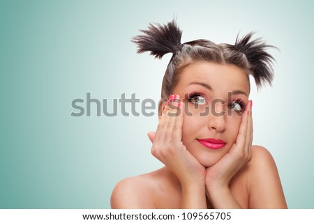 portret · mooie · vrouw · denken · glimlachend · witte - stockfoto © HASLOO