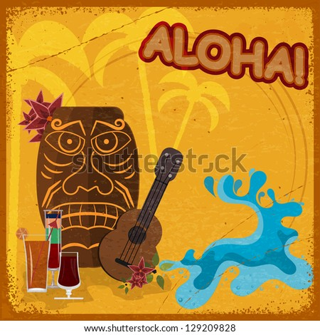 Vintage postcard with  featuring Hawaiian masks, guitars and coc Stock photo © Larser