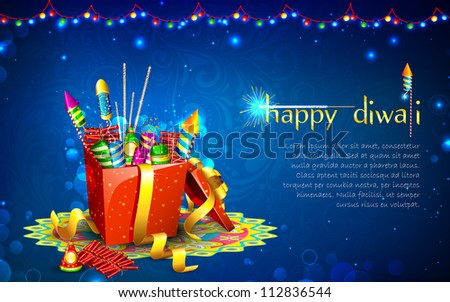 Stock photo: vector decoration colorful indian festival diwali crackers backg