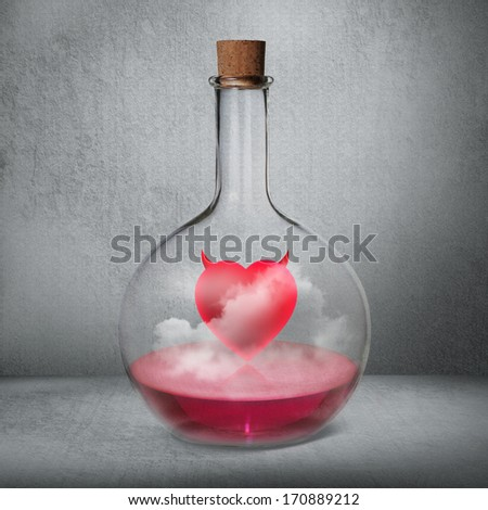 glass bottle with philtre and love potion standing inside gray b stock photo © hasloo
