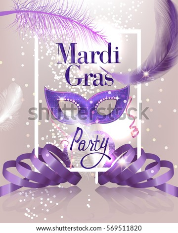 greeting card with a purple mask and ribbon for festive masquerade invitations Stock photo © heliburcka