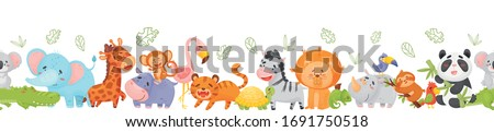 Sketch elephant, rhino, giraffe and hippo, vector seamless patte Stock photo © kali