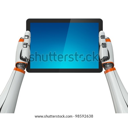 Robot with tablet pc. Isolated. Contains clipping path of tablet screen and entire scene. Stock photo © Kirill_M