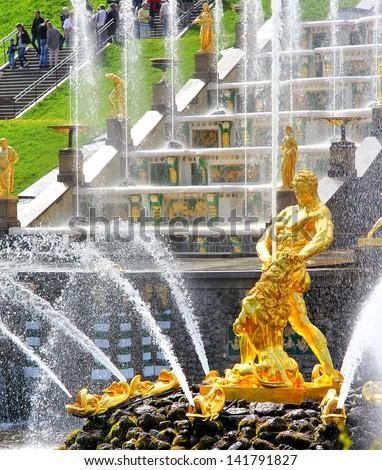 The lion fountain in Peterhof lower park, Saint-Petersburg, Russ Stock photo © tuulijumala