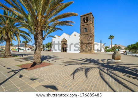 Stock photo: Typical Canary style white church building in La Oliva village