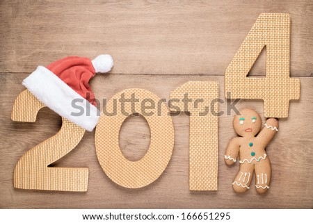 gingerbread man new year greeting card congratulations on christmas stock photo © littlecuckoo