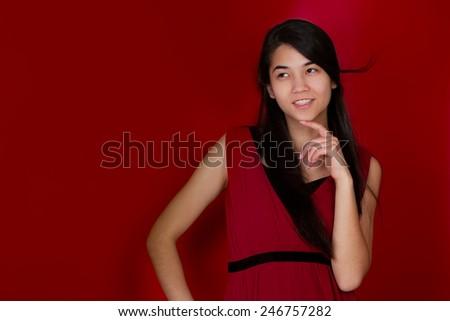 美しい 十代の少女 手 思考 赤 ストックフォト © jarenwicklund