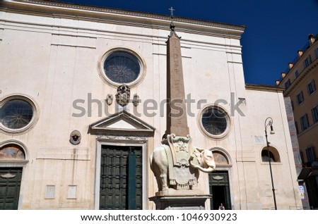Monument of Elephant by Bernini on Piazza della Minerva in Rome, Stock photo © vladacanon