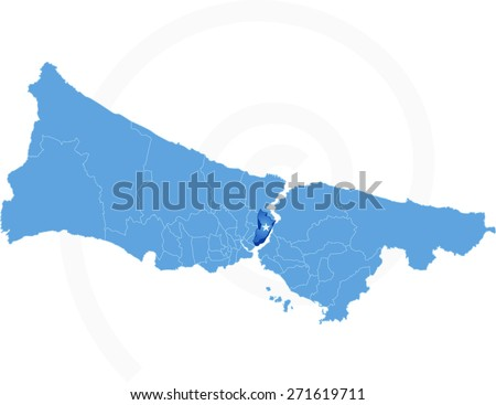 Map of Istanbul with each administrative district where Atasehir Stock photo © Istanbul2009